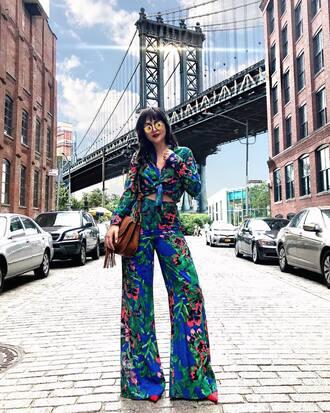 shirt brown bag tumblr floral floral shirt pants floral pants wide-leg pants bag sunglasses