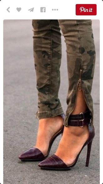 pants zip ankle zipper camo pants