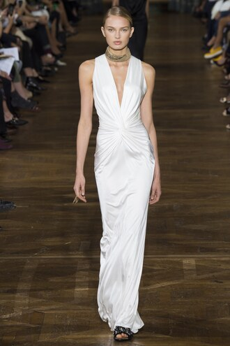 dress gown prom dress wedding dress romee strijd model runway paris fashion week 2016 lanvin choker necklace