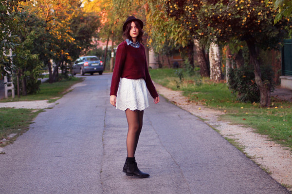 mes memos skirt shoes sweater hat