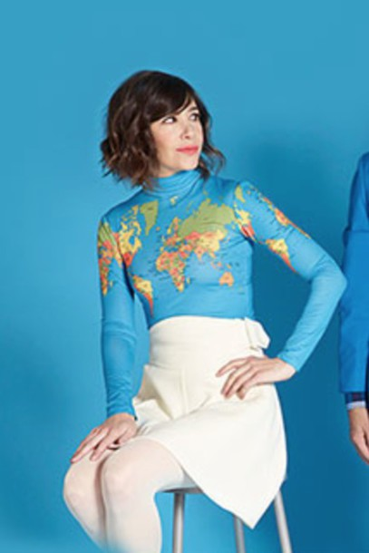 top carrie brownstein portlandia turtleneck map print