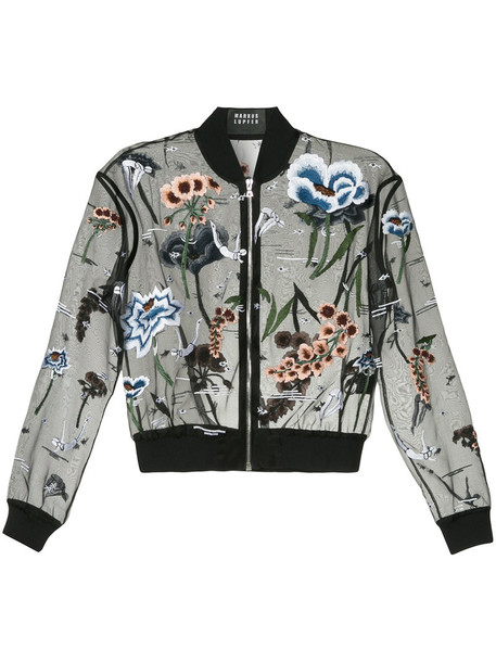 Markus Lupfer jacket bomber jacket embroidered women plastic embellished floral cotton black silk
