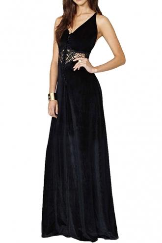 dress maxi dress witch black dress velvet dress velvet long dress boho dress lace dress