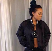 coat,heather sanders,jacket,black bomber jacket,stripes,top,bra,black jacket,bomber jacket