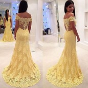 dress,fashion,yellow,yellow dress,prom dress,prom gown,prom,long dress,lace dress,long prom dress,style