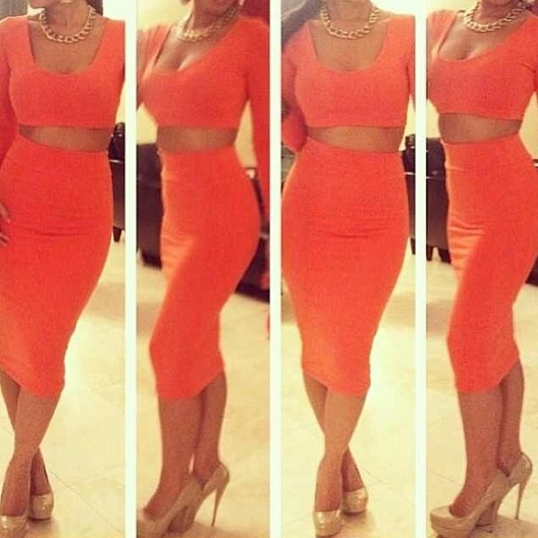 dress two piece dresws two-piece two piece bodycon dress orange dress red dress white dress bodycon dress bandage dress high waist skirt crop tops orange red white orange crop top white crop tops red crop top