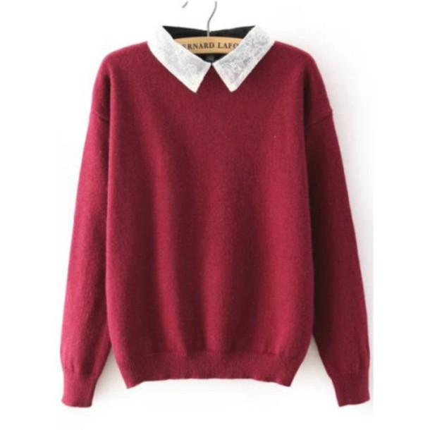 Sweater: tumblr, red sweaters, collared sweater, tumblr outfit ...