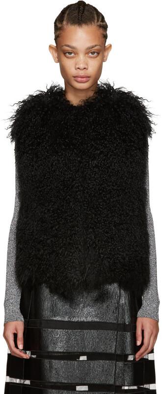 vest fur vest fur black jacket