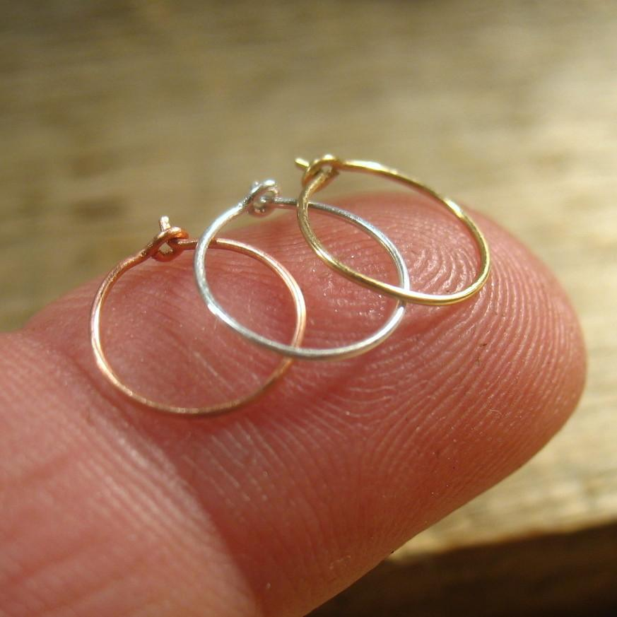 Super Thin Plain Nose Ring Set Silver Gold Pink Gold