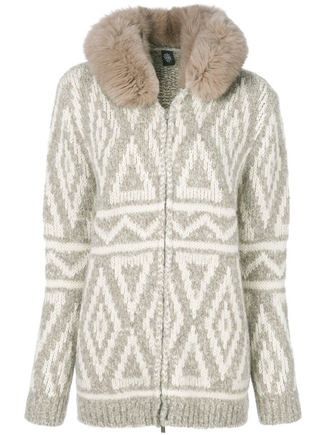 Eleventy cardigan cardigan fur fox women white wool sweater