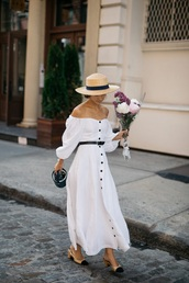 shoes,chanel,chanel shoes,dress,white dress,maxi dress,off the shoulder,off the shoulder dress,summer dress