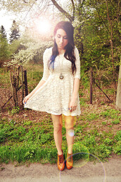 dress,lace,summer,hippie,indie,hipster,white,shoes,necklace