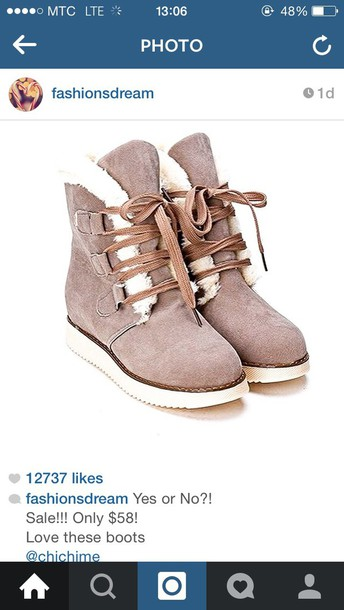 shoes grey & nude winter boots ( (ugs)