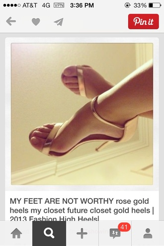 shoes gold heels rose gold