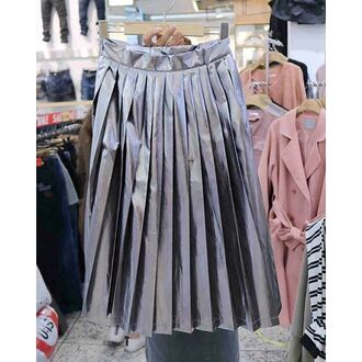 skirt blue blue skirt chrome metallic metallic pleated skirt long skirt streetstyle grunge fashion