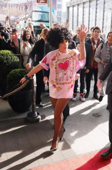 lady gaga dress pink dress keith haring