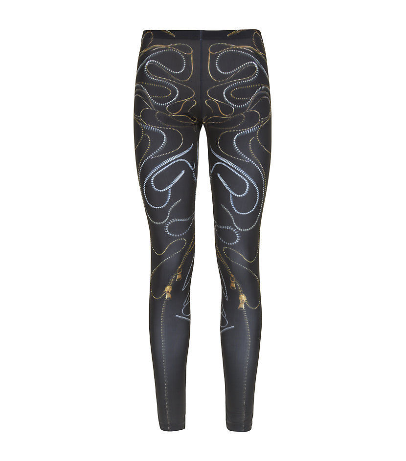Mcq alexander mcqueen zip print black leggings, size s