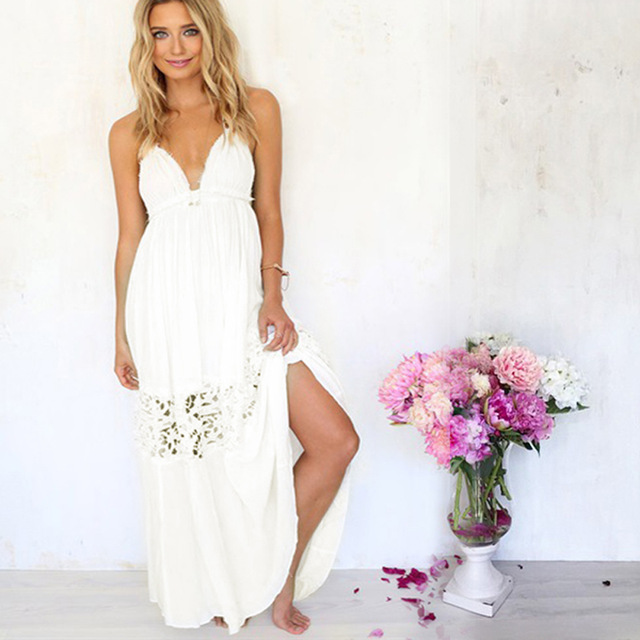 Aliexpress.com : Buy 2015 Summer Sexy Women Beach Dresses White ...