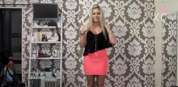 black shirt skirt shaaanxo pink skirt
