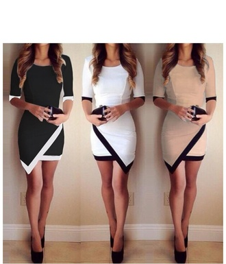 dress white dress little black dress creme underwear dress fashion tumblr black dress asymmetrical tan nude beige