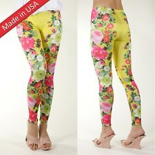 Fluorescent Bright Yellow Tropical Flower Floral Print Leggings Tights Pants