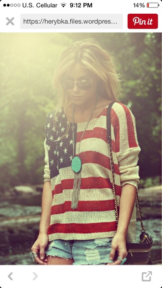 blouse patriotic sweater knitted sweater