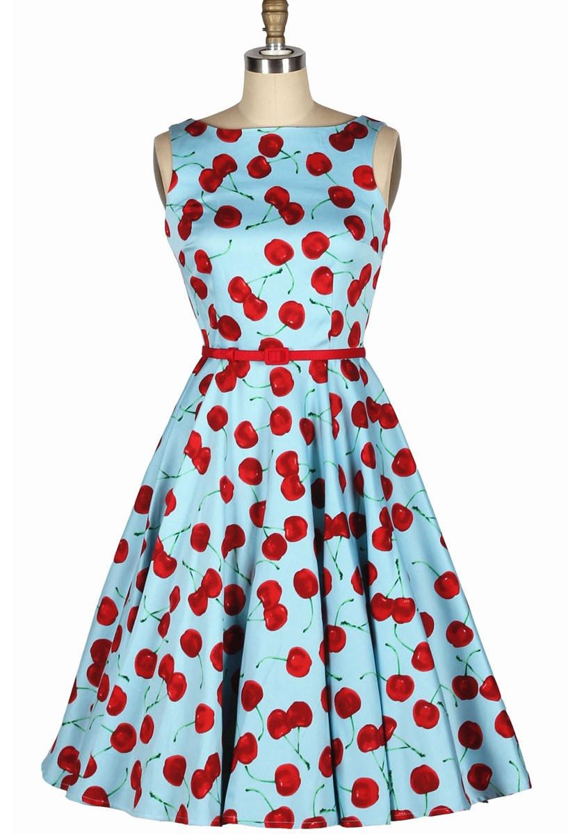 Cherry Printed Boat Neckline Skirt Dress