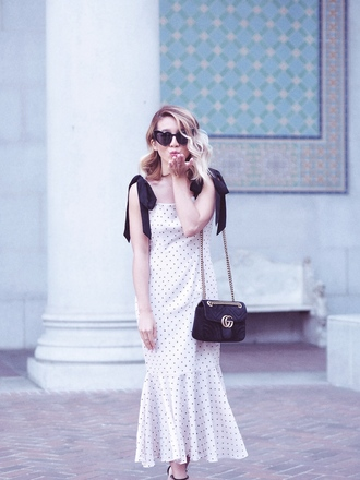 laminlouboutins blogger dress shoes sunglasses bag heart sunglasses gucci bag midi dress polka dots spring outfits