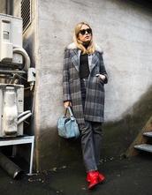 coat,grey coat,tumblr,plaid coat,denim,jeans,grey jeans,boots,red book bag,bag,sunglasses