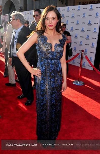blue, maxi, rose mcgowan, sheer, lace dress, red carpet dress ...
