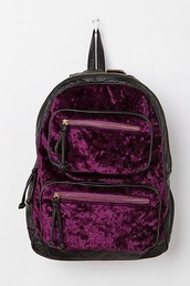 bag,purple,backpack,grunge,indie,hipster,tumblr,black bag,zips,gold details,velvet