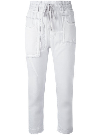 cropped women drawstring cotton grey pants
