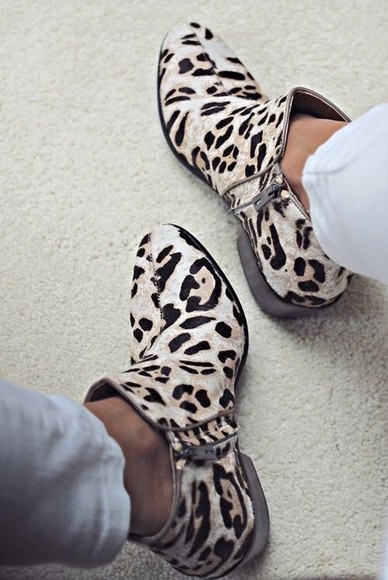 shoes leopard print cow ankle boots