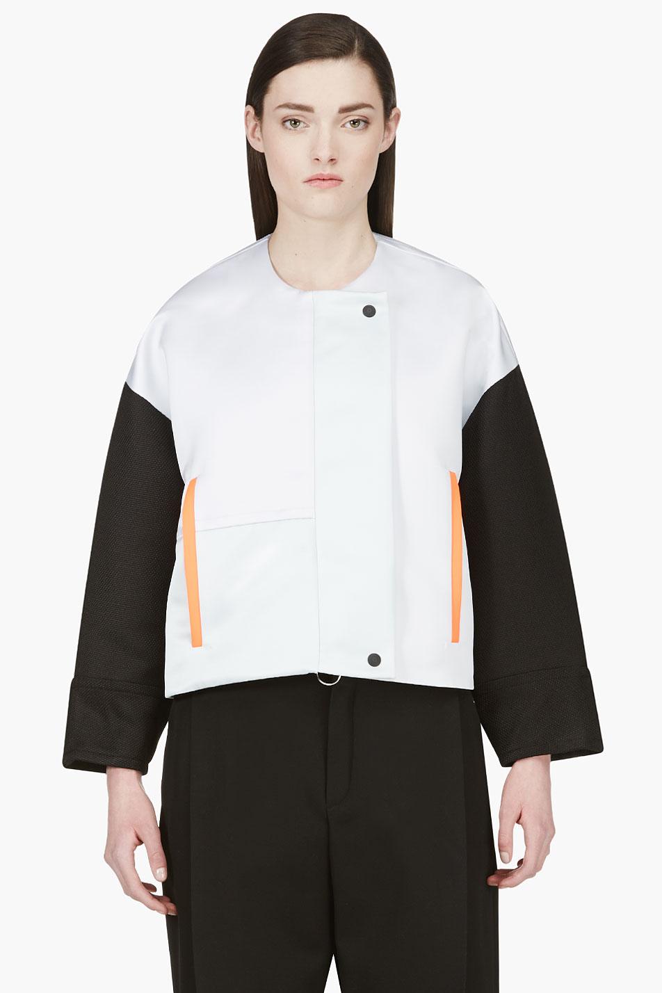 roksanda ilincic oyster grey and black bayliss jacket