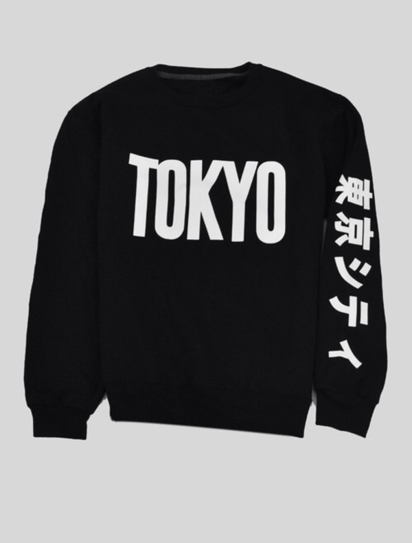 Sweater: shirt, japanese, tokyo, sweatshirt, black ...