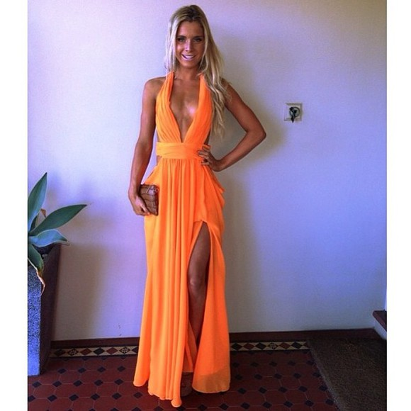 dress maxi dress hot sexy orange dress classy prom dress formal dress red dress sexy dress hot dress blonde girl surfer girl classy dress red carpet night outfit dance blonde hair