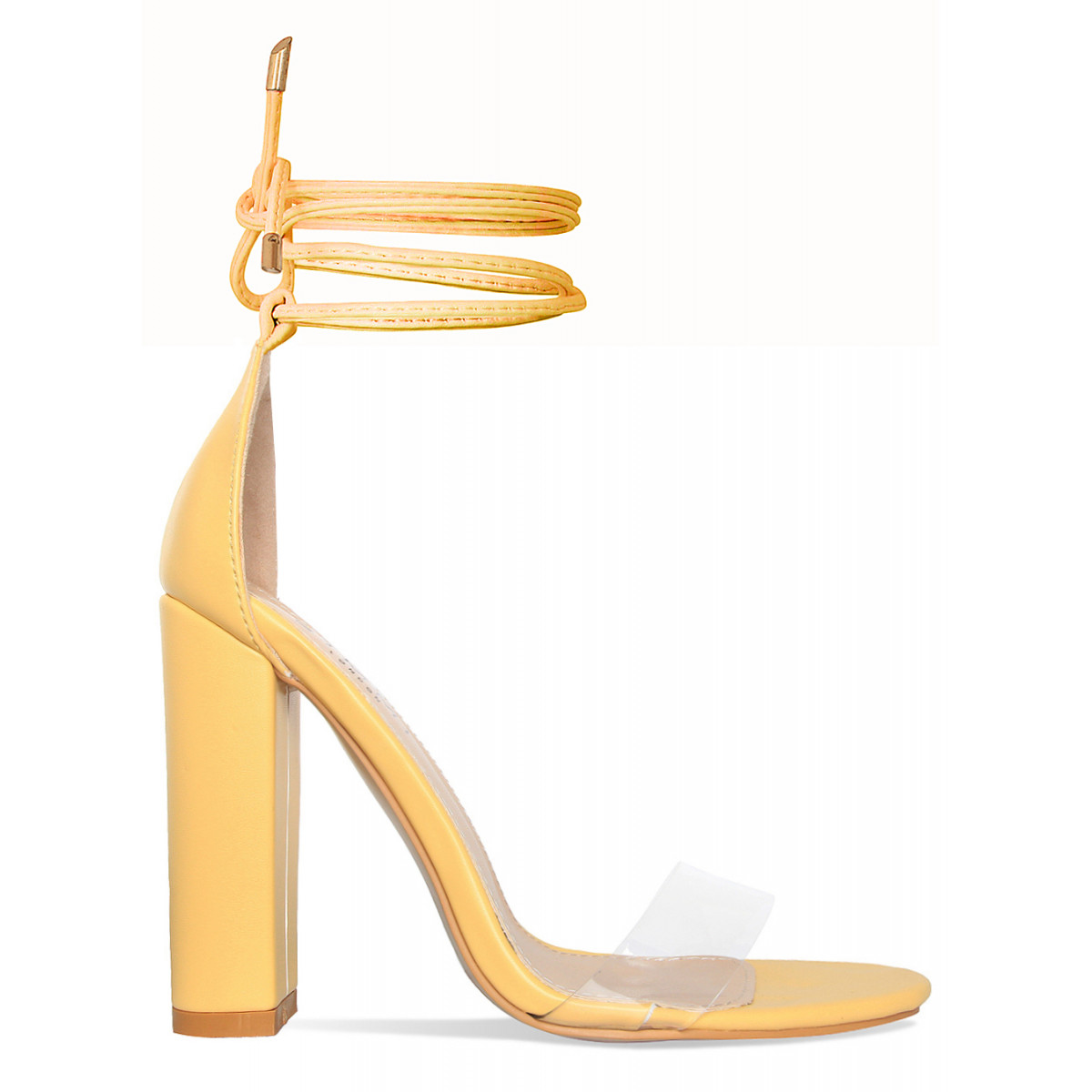 2cc44b80f3be Harley Yellow Transparent Lace Up Block Heels   Simmi Shoes