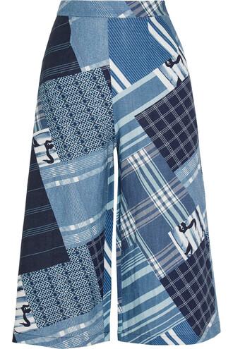 pants wide-leg pants patchwork print blue royal blue