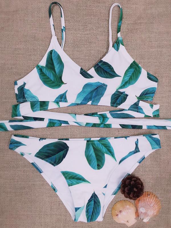 swimwear fashion style beach summer cool hot trendy leaves bikini sexy white green zaful