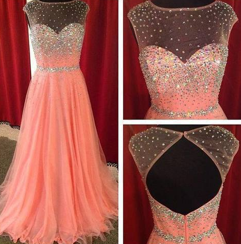 Sexy Scoop Neck See Through Coral Prom Dresses