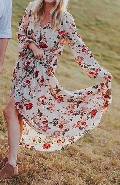 dress floral rose dress long sleeve  cream