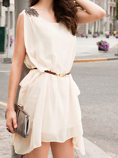 Fashion Pearl Decorated Sleeveless Pure Color Chiffon Dress Women Summer Casual Dress  -  BuyTrends.com
