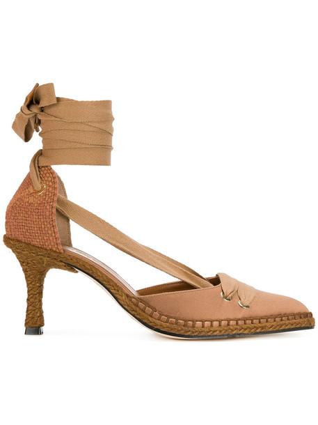 Manolo X Castaner heel women pumps leather brown satin shoes