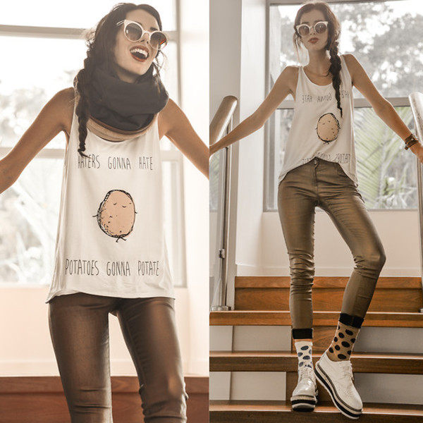pants gold tank top sunglasses