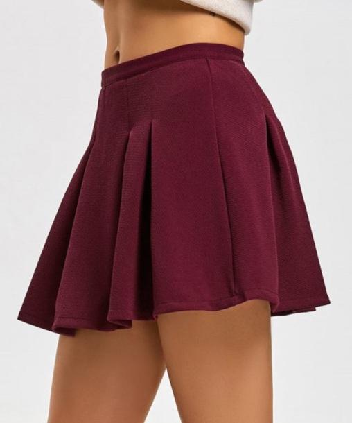 f79a34f547ae95 skirt, girly, burgundy, pleated, pleated skirt, mini, mini skirt ...