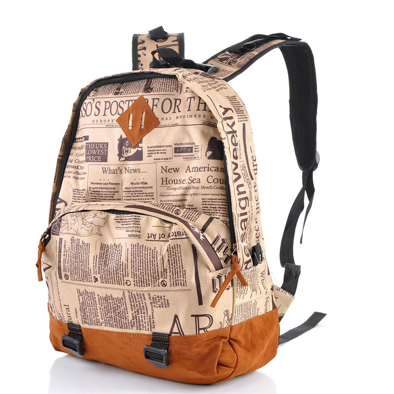 Women Newspaper Print Travel Backpack Leisure Campus School Bags Multicolor | eBay