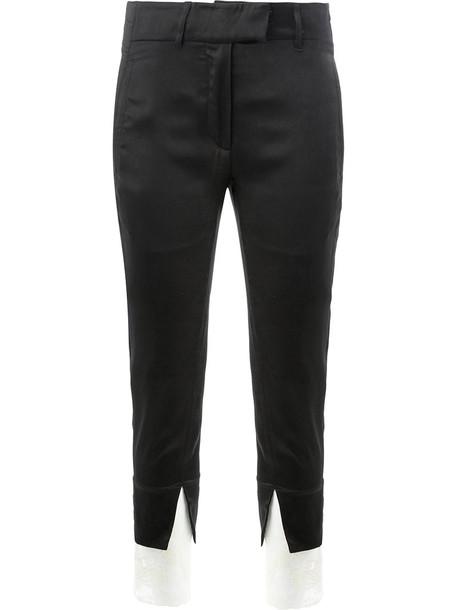 ANN DEMEULEMEESTER cropped women cotton black pants