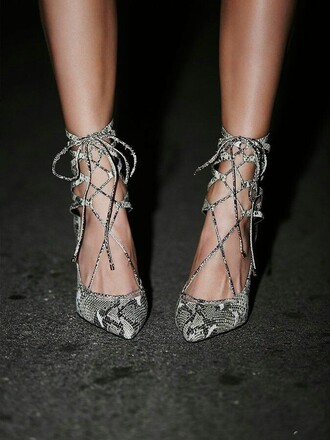 shoes strappy heels snake print