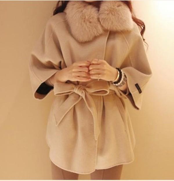 coat jacket пальто меховой воротник бежевое пальто