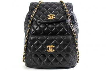 Chanel: Authentic Chanel Black Quilted Leather Large Backpack | MALLERIES
